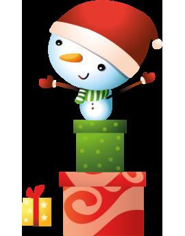 Stickers petit bonhomme de neige cadeau de noël
