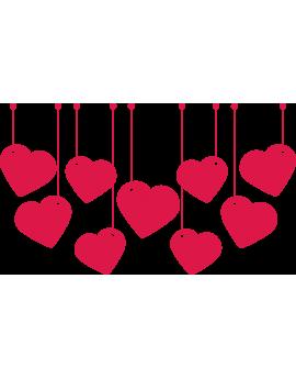 Stickers guirlande de cœurs rouges