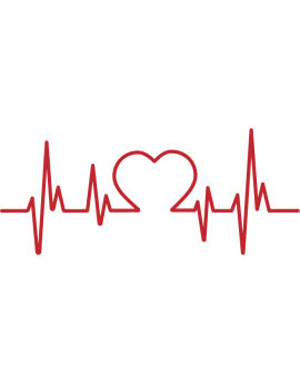 Stickers battement de cœur rouge avec cœur