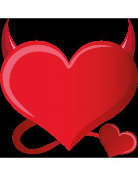 Stickers cœur avec cornes de diable