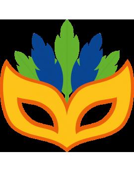 Stickers masque carnaval bleu vert jaune