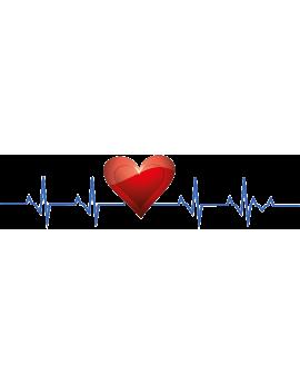 Stickers battement de cœur avec cœur rouge