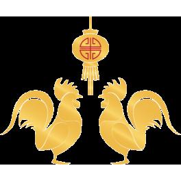 Stickers coqs dorés lampion nouvel an chinois
