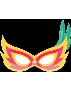 Stickers masque carnaval rouge jaune avec plumes