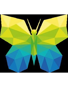 Stickers papillon polygonal moderne vert jaune bleu