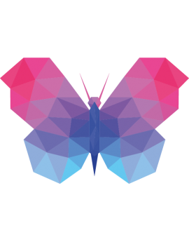 Stickers papillon polygonal moderne design bleu mauve rose