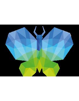 Stickers papillon polygonal moderne design bleu et vert
