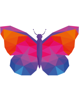 Stickers papillon polygonal moderne design multicolore