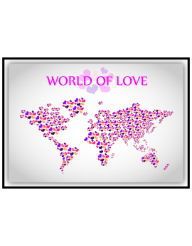 Stickers map monde love amour cœurs