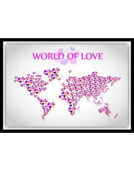 Stickers map monde love amour cœurs