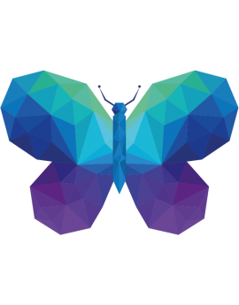 Stickers papillon polygonal moderne design bleu vert