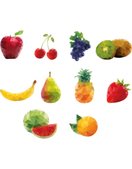 Stickers kit fruits polygonaux