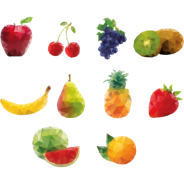 Stickers kit fruits polygonaux