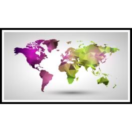 Stickers map monde polygonale