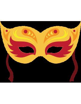 Stickers masque de carnaval jaune et rouge