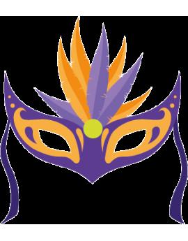 Stickers masque de carnaval violet et orange à plumes