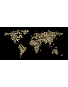 Stickers carte du monde map monde fond noir
