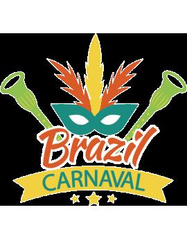 Stickers carnaval Brésil avec plumes jaune vert orange