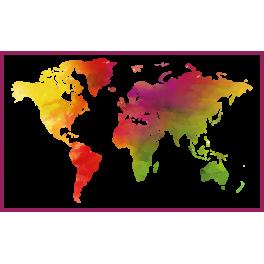 Stickers carte du monde map monde couleur