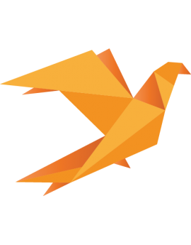 Stickers origamis oiseau orange moderne design