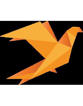 Stickers origamis oiseau orange moderne design