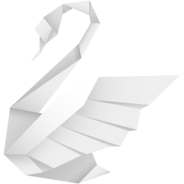 Stickers cygne origamis blanc moderne design polygonal