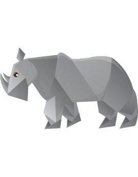 Stickers enfant rhinocéros  polygonal moderne design enfant