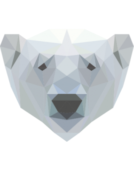 Stickers tête d'ours blanc polygonal moderne design