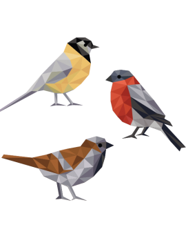 Stickers oiseau multicolore  polygonale moderne design