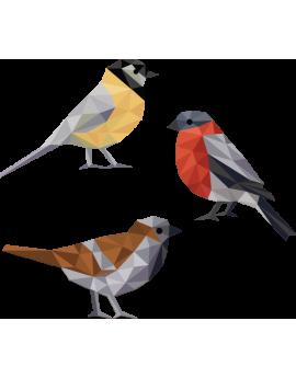 Stickers oiseau multicolore  polygonale moderne design