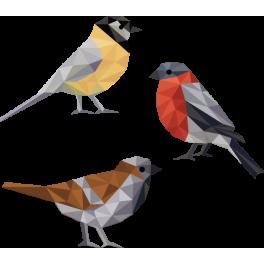Stickers kit oiseaux polygonal design moderne