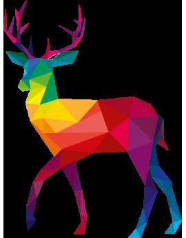 Stickers renne multicolore polygonal moderne design