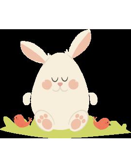 Stickers œufs de pâques oreilles de lapin oiseaux