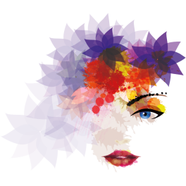 Stickers tête de femme fleures mode moderne