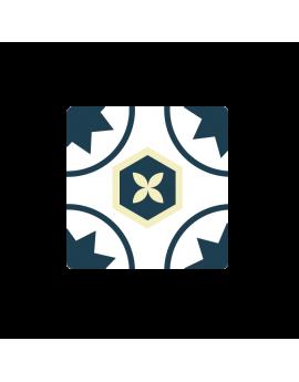 Stickers carreaux de ciment cuisine beige et bleu