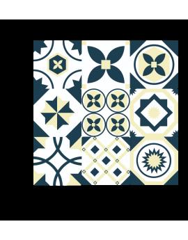 Stickers carreaux de ciments beige et bleu