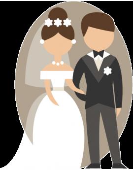 Stickers couple de marié couleur taupe amour grand jour