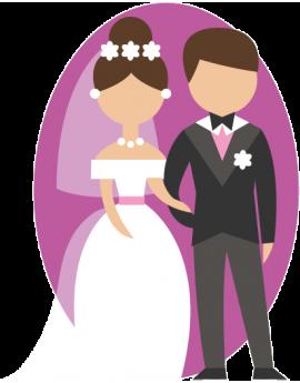 Stickers couple de marié couleur mauve  amour grand jour