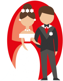 Stickers couple de marié couleur rouge amour grand jour