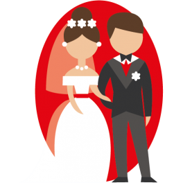 Stickers couple de marié couleur rouge amour grand jour