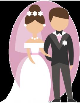 Stickers couple de marié couleur vieux rose amour grand jour