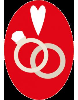 Stickers bagues entrelacés couple mariage couleur rouge amour grand jour