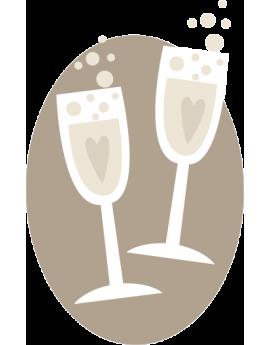 Stickers coupes de champagne fêtes