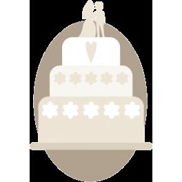 Stickers gâteau de mariage fêtes amour