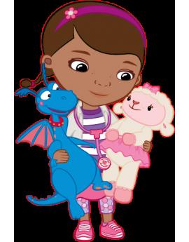 Stickers Docteur La Peluche avec mouton et dragon