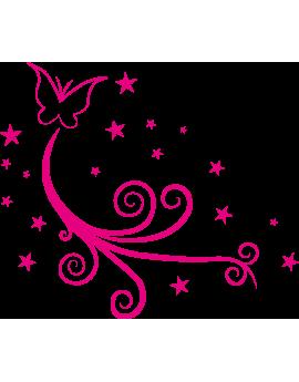 Stickers papillon arabesque étoiles