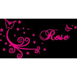 Stickers Rose papillon arabesque étoiles