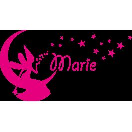 Stickers Fée sur la lune étoile Marie