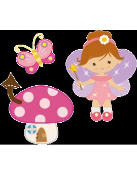 Stickers petite fée avec champignon et papillon