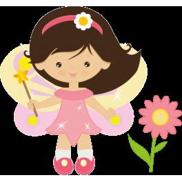 Stickers petite fée avec fleur